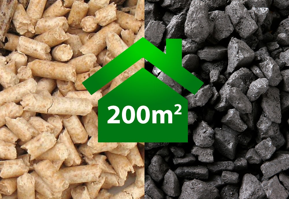 HOW MUCH ECO-PEA COAL AND HOW MANY PELLETS DO I NEED TO BURN IN ORDER TO HEAT A HOUSE WITH AN AREA OF 200 M<sup>2</sup>?